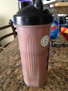 chocolate shakeology with 3 frozen strawberries and half a banana