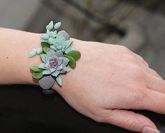 Mint Succulent Bracelet. Polymer clay Succulent plant Bracelet. Succulent wrist…
