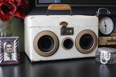 SUITCASE BOOMBOX - Vintage Bluetooth Stereo Speakers -  Retro Luggage - Steampunk Radio - MP3 Player - Upcycled, Repurposed, & Restored