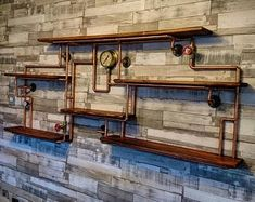 Retro Industrial Rustic Hardwood Shelves - steampunk wall art by TheLittleVintageLamp on Etsy Copper Pipe Shelves, Diy Pipe Shelves, Industrial Pipe Shelves, Bar Shelves, Vintage Industrial Decor, Vintage Lamps, Shelving, Wine Rack Design, Industrial Ceiling Lights
