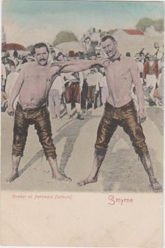 Turkey Smyrne Collection Card 2 Combat de Pehlevans Lutteur Oil Wrestlers