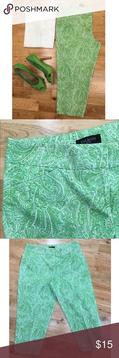 """Talbots Paisley Print Capri Pants Green and white paisley print Capri pants by Talbots. These pants feature hooks/bar closure with interior button at the waist. Curvy fit. There are slanted front pockets and two besom pockets in the back. 1 1/2"""" slits at the back legs. 98% cotton & 2% spandex - machine wash/dry per tag. Size 10P with 16.5"""" waist measured laying flat (33"""" total) and 20"""" inseam. Talbots Pants Capris"""