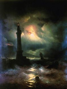 Hand painted oil painting reproduction on canvas of Neapolitan lighthouse 1842 by artist Ivan Aivazovsky as gift or decoration by customer order. Art Amour, Images Vintage, Photo D Art, Wow Art, Fine Art, Nocturne, Amazing Art, Art Photography, Scenery