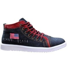 Trendy Men's Casual Shoes With Denim and Lace-Up Design #shoes, #jewelry, #women, #men, #hats, #watches, #belts