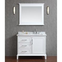 "Seacliff+by+Ariel+Nantucket+42""+Single+Sink+Bathroom+Vanity+Set+with+Carrera+White+Marble+Countertop+-+White"