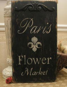 FRENCH shabby sign PARIS Flower Market Chippy cottage...etsy