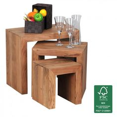FineBuy Acacia 3-piece set table Solid wood side table coffee table, NEW in Home, Furniture & DIY, Furniture, Tables   eBay