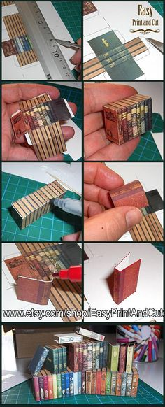 Printable miniature Books Covers tutorial by AnnaBellLeeArt on DeviantArt Dollhouse Miniature Tutorials, Miniature Crafts, Miniature Dolls, Diy Dollhouse Books, Diy Dollhouse Miniatures, Miniature Houses, Box Video, Simple Prints, Miniture Things
