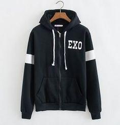 EXO Black Zip Hoodies