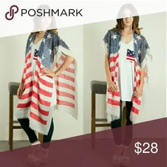Scarf Poncho Vintage American flag scarf poncho. Comes in 3 colors white, gray, & coral. This listing is for coral. Fashionomics Accessories Scarves & Wraps