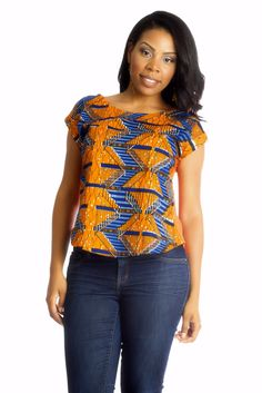 Stylish African print women's top. Shop African-inspired fashion at Kuwala.