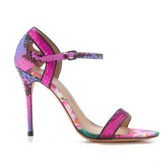 Jean-Michel Cazabat 'Oka' Fuchsia 'n Lilac Snakeskin Embossed Sandal with Glitter and Sequin Detail