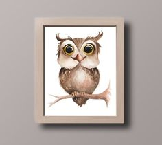 Baby OWL PRINTABLE wall art, Woodland nursery watercolor decor, Boy and girl nursery, Baby shower PR Penguin Illustration, Watercolor Illustration, Watercolor Paintings, Owl Wall Art, Nursery Wall Art, Owl Nursery, Dream Drawing, Owl Bird, Baby Owls