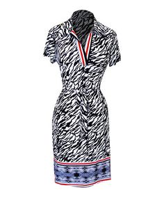 Look what I found on #zulily! Black & White Tie-Waist Notch Neck Dress #zulilyfinds