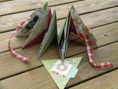 Triangular Around Mini Scrapbook.  Free, step-by-step tutorial with great photos on creating this surprisingly easy mini album.  #mini scrapbook, #mini album, #triangle mini album