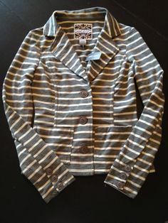 Striped Blazer, Charcoal and White | eBay so cute!
