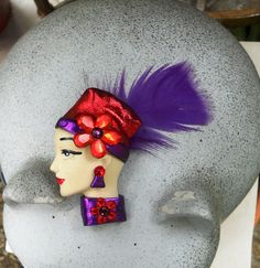 Red Hat Lady with Feather by ladybugholmes on Etsy, $18.00