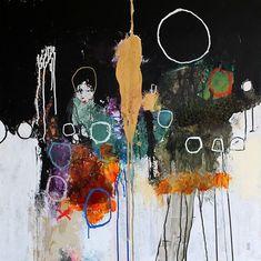 """Nadine Bourgne - """"Chronique nocturne"""", Technique mixte sur toile,  80x80 - 2013 (collection privée)"""