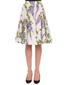 DOLCE & GABBANA Wisteria-Print Pleated A-Line Skirt, White/Lavender. #dolcegabbana #cloth #skirt