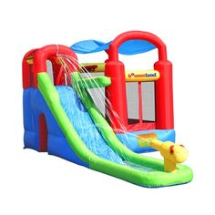 Bounce House Ball Pit For Kids With Water Slide Inflatable Backyard Playset