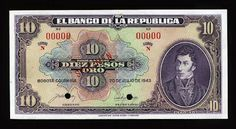 Colombia  $10 Gold pesos banknote issued by the El Banco de la Republica,  dated July 20th of 1943. Colombian peso, Colombian banknotes, Billetes Colombianos, Colombian paper money, el papel moneda en Colombia, Colombian bank notes, Colombia banknotes, Investing money in collectable banknotes - best investment and safe investments. Obverse: Portrait of Antonio Nariño - National Hero of Colombian Independence.  Printed by American Bank Note Company, New York.