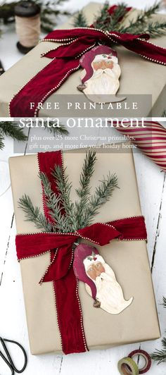 Download and print this hand painted Santa ornament to use as a gift tag on your Christmas gifts, place card for your holiday table, or to decorate your own tree. | www.andersonandgrant.com