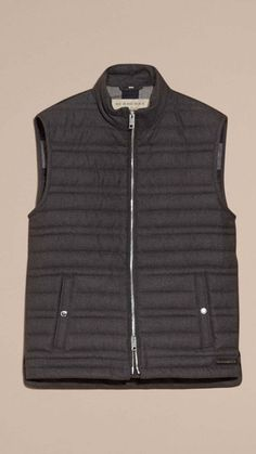 Dark grey melange Down-filled Wool Flannel Gilet 4 Man Shop 8bb273d4d1