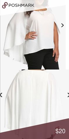 Caped shirt. Torrid nwt size 1 White flowy cape top. Size 1 torrid nwot pet/smoke free home torrid Tops Blouses