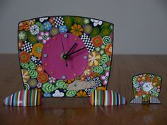 Polymer clay clock pin with one of Carolyn Bonds original polymer clay clocks | Flickr - Photo Sharing!