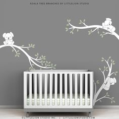 White Tree Decal Baby Room Wall Art Tree Wall Decals Baby White - Koala Tree Branches by LittleLion Studio. $79.00, via Etsy.