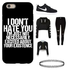 """black look"" by girlyaddict on Polyvore featuring mode, NIKE, Topshop et Moschino"