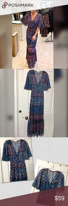 Stunning drape front boho blue/burgundy maxi dress Absolutely gorgeous! Very flattering with a dreamer front and empire waistline- fully lined in a beautiful boho print in denim blue- burgundy and blush- intricate design! Dresses Maxi
