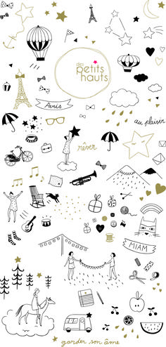 You need them for any banner or simple doodles Des Petits Hauts papier peint : marie caulliez Doodle Drawings, Doodle Art, Doodles, Drawing Tutorials, Banners, How To Draw Hands, Illustration Art, Clip Art, Prints