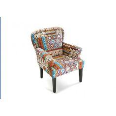Sillón Patchwork con brazos en tonos marrones. Descubre el nuevo tapizado de patchwork en tonos marrones, al más puro estilo vintage con este original sillón con brazos. Ideal para pequeños rincones.