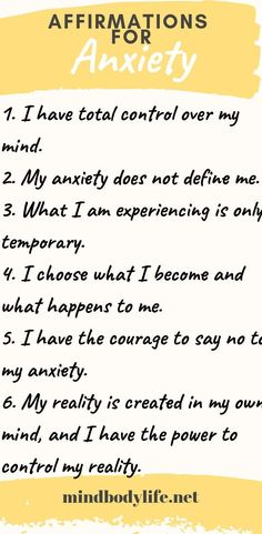 Affirmations for Anxiety : Affirmations for Anxiety. Learning how to regain control of your mind when Anxiety Strikes is possible, here at my Top 20 Affirmations for Anxiety that I have used to ease my Anxiety symptoms. anxiety affirmations mentalhealth d Anxiety Coping Skills, Anxiety Tips, Anxiety Help, Stress And Anxiety, Anxiety And Depression, Anxiety Facts, Anxiety Therapy, Mental Health, Affirmations