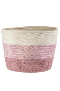This cotton rope storage basket or Planter in pink pattern. Great for plants or bathroom accessories. Plant Basket, Basket Planters, Rope Basket, Hanging Rope, Hanging Plants, Sass & Belle, Pink Patterns, Cotton Rope, Storage Baskets