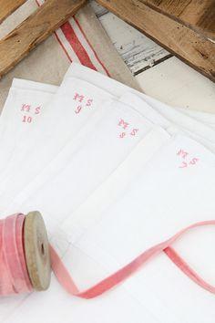"Vintage French Linen Napkins ""MS"""