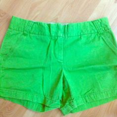 """Jcrew lime green shorts 3"""" Chino shorts with front and back pockets, belt loops, and front zipper closure. J. Crew Shorts"""