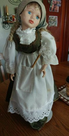 Cleaning lady with stand. Green and white cleaning dress. | eBay!