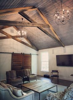 scissor truss Traditional Family Room Colour Schemes Other Metro barn doors den limestone fireplace reclaimed beam skins reclaimed oak flooring reclaimed sinker pine tongue and groove ceiling trusses vaulted ceiling