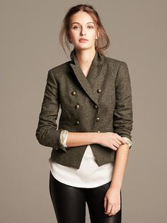 Olive Double-Breasted Blazer