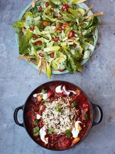 Veggie chilli with crunchy tortilla & avocado salad Brilliantly speedy and spicy
