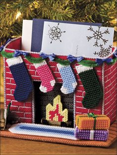 Fireplace Card Holder in Plastic Canvas