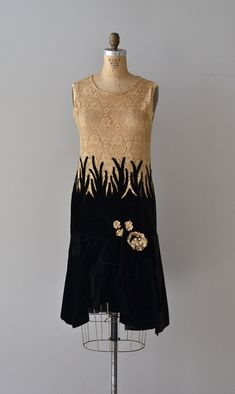 Wish Upon Vintage 1920s velvet and lace 2-tone dress. Ecru cotton lace (sheer) bodice w/ black velvet skirt climbing up past the dropped waist and ecru cotton lace floral appliques at one hip. (hva)