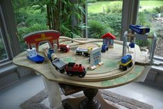 I took some photos of the boys' train table today because it is entering retirement. Train Activities, Train Table, Poker Table, Retirement, Tables, Diy, Home Decor, Do It Yourself, Homemade Home Decor