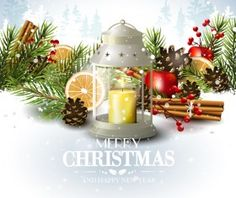 Christmas elements with new year card and snowflake background vector