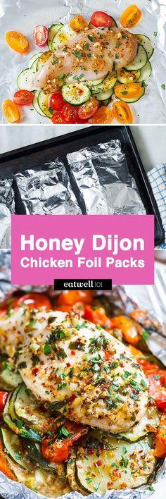 These honey dijon chicken and veggies foil packs make for a savory and nourishing dish perfect for a quick and healthy dinner. Chicken breasts seasoned in a honey-mustard sauce are baked in foil t Chicken In Foil, Chicken Foil Packets, Chicken Slices, Oven Chicken, Foil Pack Meals, Foil Dinners, Fun Cooking, Cooking Recipes, Healthy Recipes