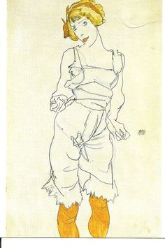 Egon Schiele Portrait of Wally with Yellow Stockings