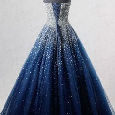 Sparkly A-Line Strapless Navy Blue Tulle Long Prom/Evening Dress with Beading · funkrdress Blue Evening Dresses, Prom Dresses Blue, Formal Dresses, Wedding Dresses, Sweet 16 Dresses, Sweet Dress, Photos Of Dresses, Beaded Prom Dress, Colored Highlights