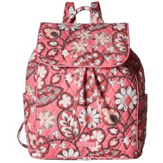 Vera Bradley Drawstring Backpack (Blush Pink) Backpack Bags ($98) ❤ liked on Polyvore featuring bags, backpacks, flat backpack, pink drawstring bags, draw string backpack, pocket backpack and vera bradley